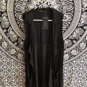 ZARA Basic Black Pleated long Vest